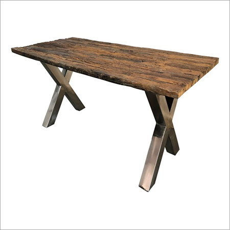 RAILWAY WOOD TOP WITH 'X' LEGS DINING TABLE