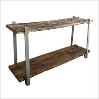 RAILWAY WOOD TOP WITH IRON LEG TV CONSOLE