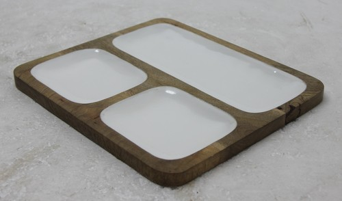 White Enamel Platter  With Three Partition