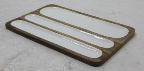 Mango Wood Platter  With Three Partition