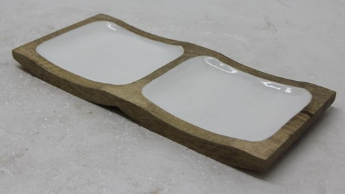 Mango Wood Platter With White Enamel