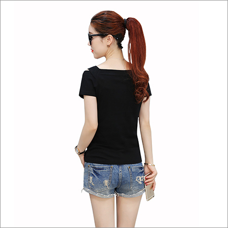 Ladies Cut Shoulder Black Top