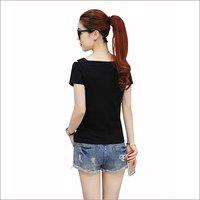 Ladies Cut Shoulder Black Top