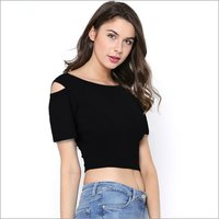 Ladies Cut Shoulder Crop Top