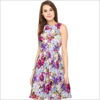 Ladies Floral Print Designer One Piece Dress
