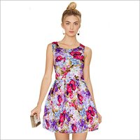Ladies Floral Print Designer One Piece Dress
