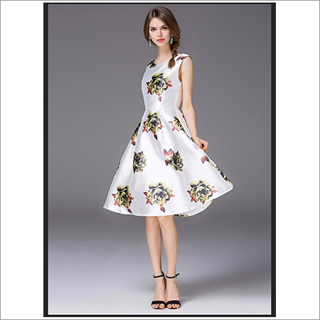 Ladies Floral Print One Piece Dress