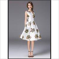 Ladies Floral Print One Piece Dress