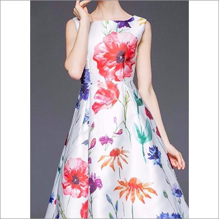 Ladies Floral Print White One Piece Dress