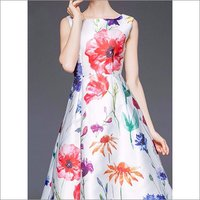 Ladies Floral Print White One Piece Dress