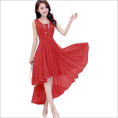 Ladies Plain Red One Piece Dress