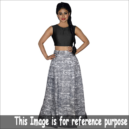 Ladies Black Crop Top Printed Skirt