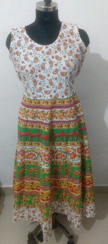 Cotton Printed Jaipuri Midi Dress