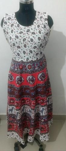 Cotton Printed Short Jaipuri Midi Dress