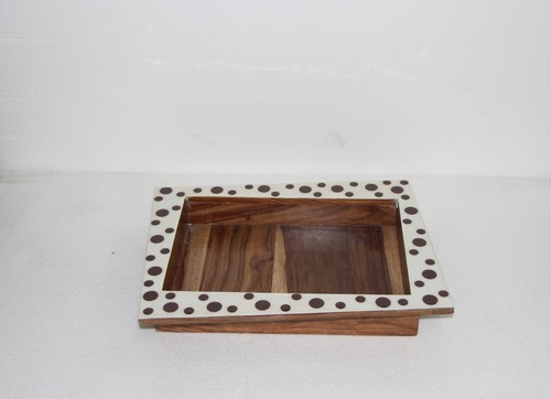 Wooden Tray With Enamel