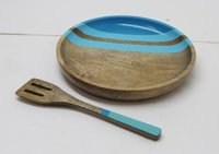 Wooden Plate With Spoon