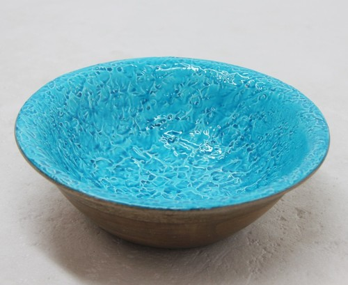 Wooden Bowl With Enamel