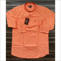 Mens Orange Linen Kurta