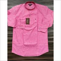 Mens Pink Linen Kurta