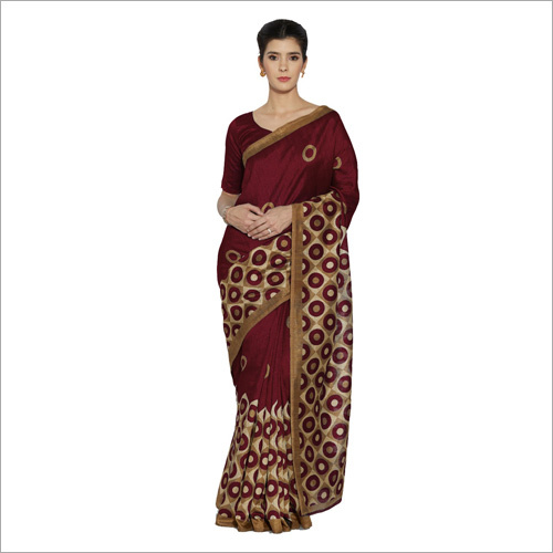 Ladies Bhagalpuri Marron Saree