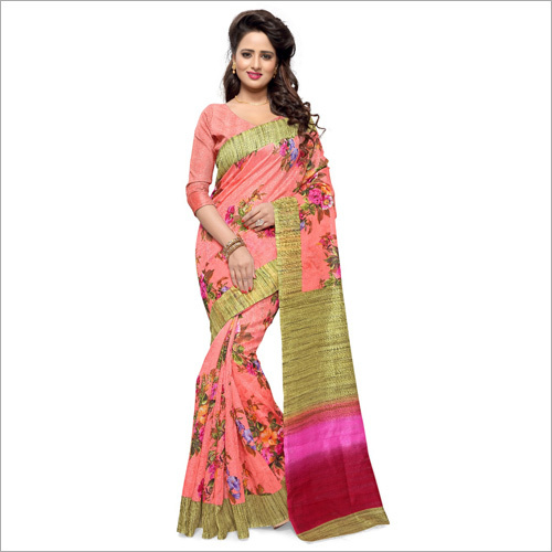 Ladies Bhagalpuri Floral Design Saree