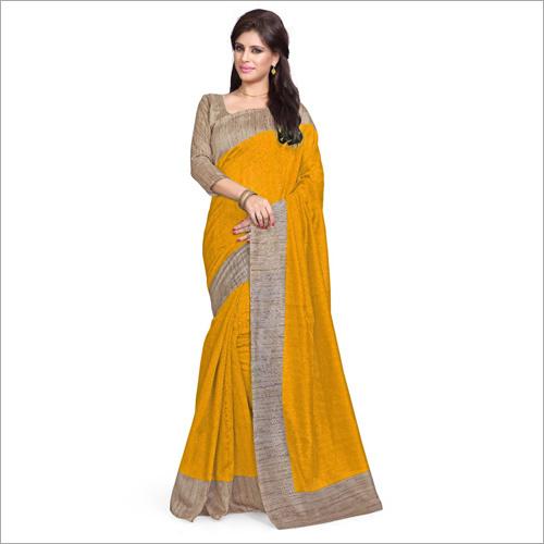 Ladies Bhagalpuri Yellow Saree