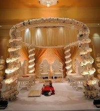 White Theme Crystal Wedding Mandap