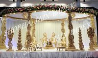 Wedding Peacock Wooden Mandap Set