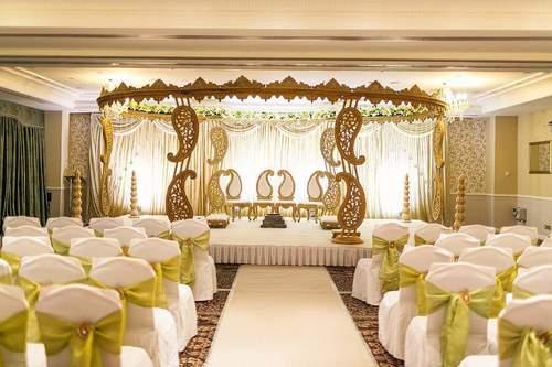 Paisley Themed Wood Wedding Mandap