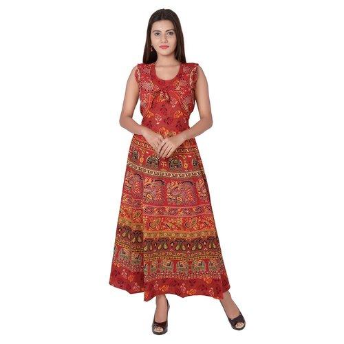 Printed Cotton Maxi Jaipuri Jacket Attached Dress