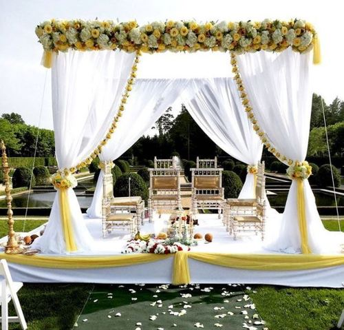 White Theme Fabric Wedding Mandap