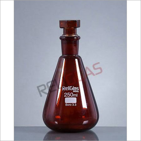 02.316 Conical Flask, AMBER, Stoppered