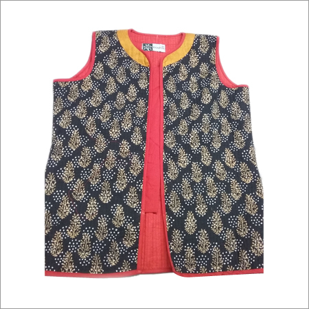 Hand Block Print Ladies Sleeveless Jacket