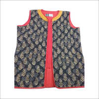 Hand Block Print Ladies sleeveless jacket