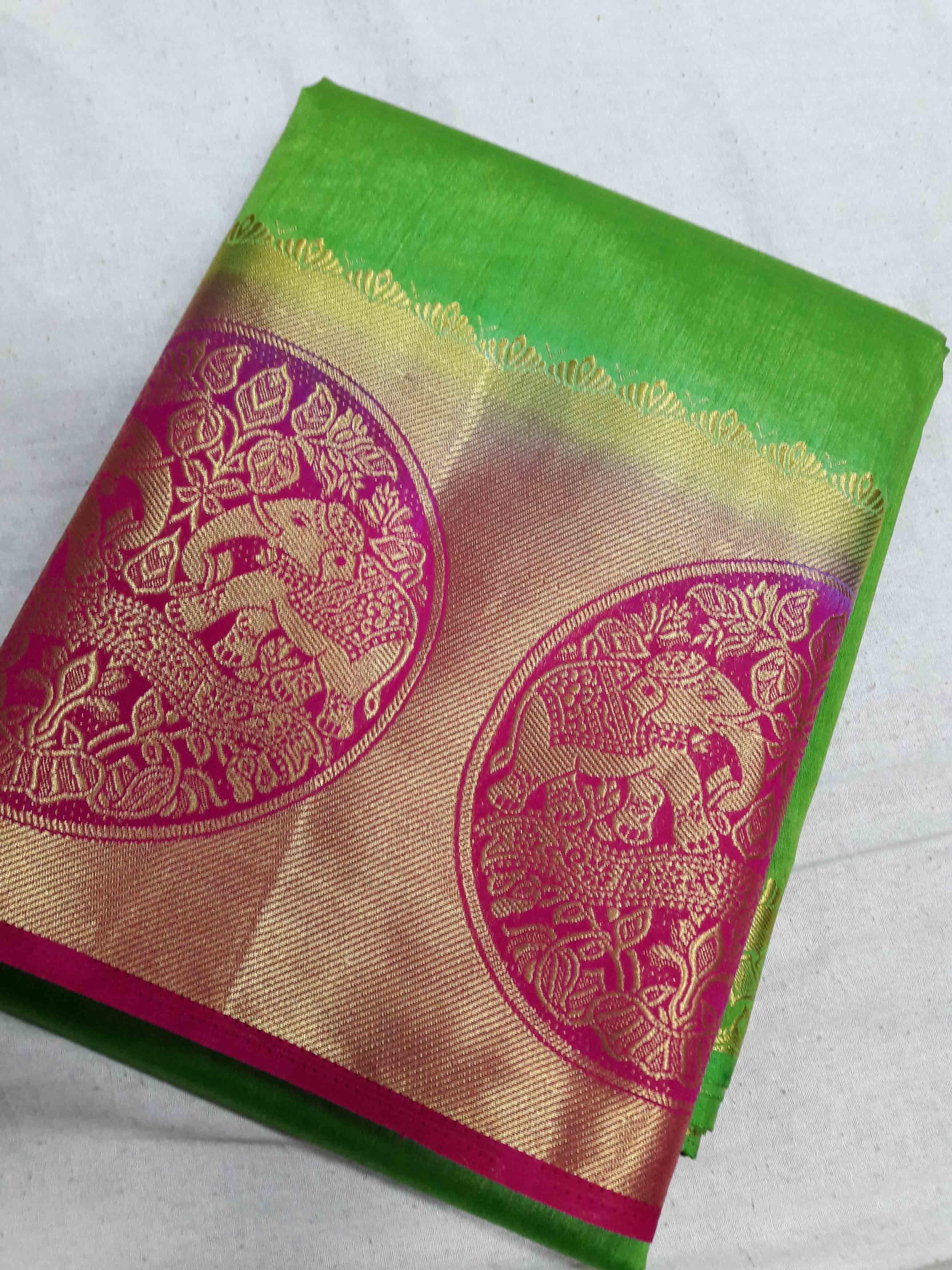 Kanchipuram Rawsilk Elephant Border Contrast Saree Bahubali