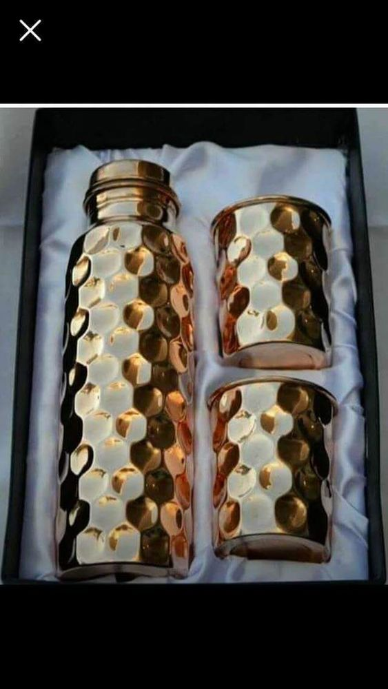 Copper bottle with glass set