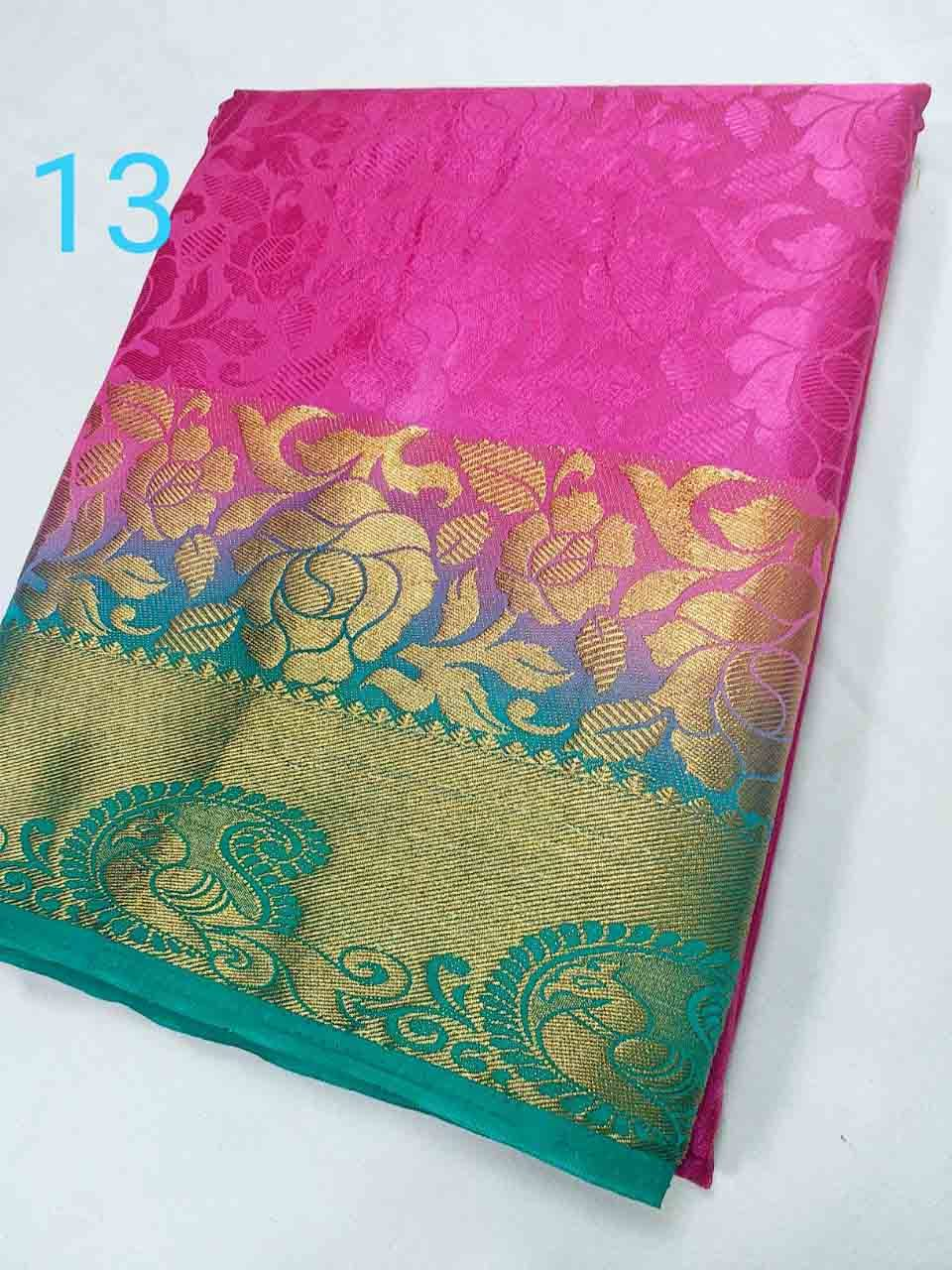 Kanchipuram Art Brasso Contrast Saree (Rose Peacock Design)