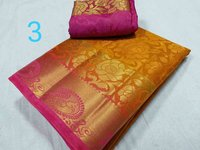 Kanchipuram Art Brasso Contrast Saree (Rose Peacock Design)