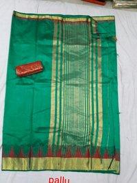 Tussar Meena Temple Border Chitpallu Sarees