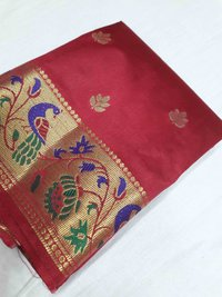 Semi Paithani Peacock Border Contrast Sarees(Design no 2)