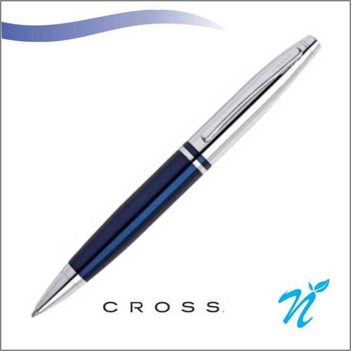 Calais Chrome/Blue Ball Point Pen