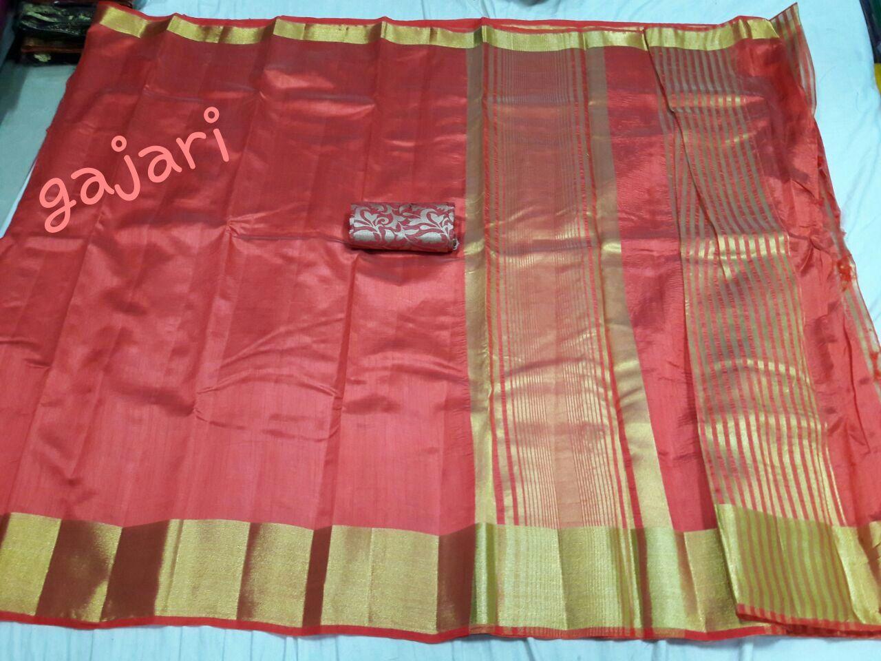 Tussar Lakdi Patta Sarees(With Extra Jacquard Blouse)