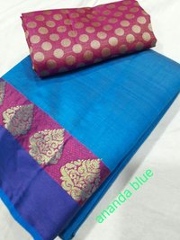 Tussar Silk Deepam Border Saree With Extra Blouse