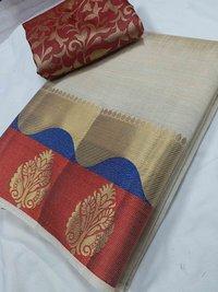 Tussar silk Ganga Jammuna Border Chitpallu Saree