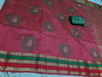 Tussar Silk Round Design Embroderry Saree With Extra Jacquard Blouse