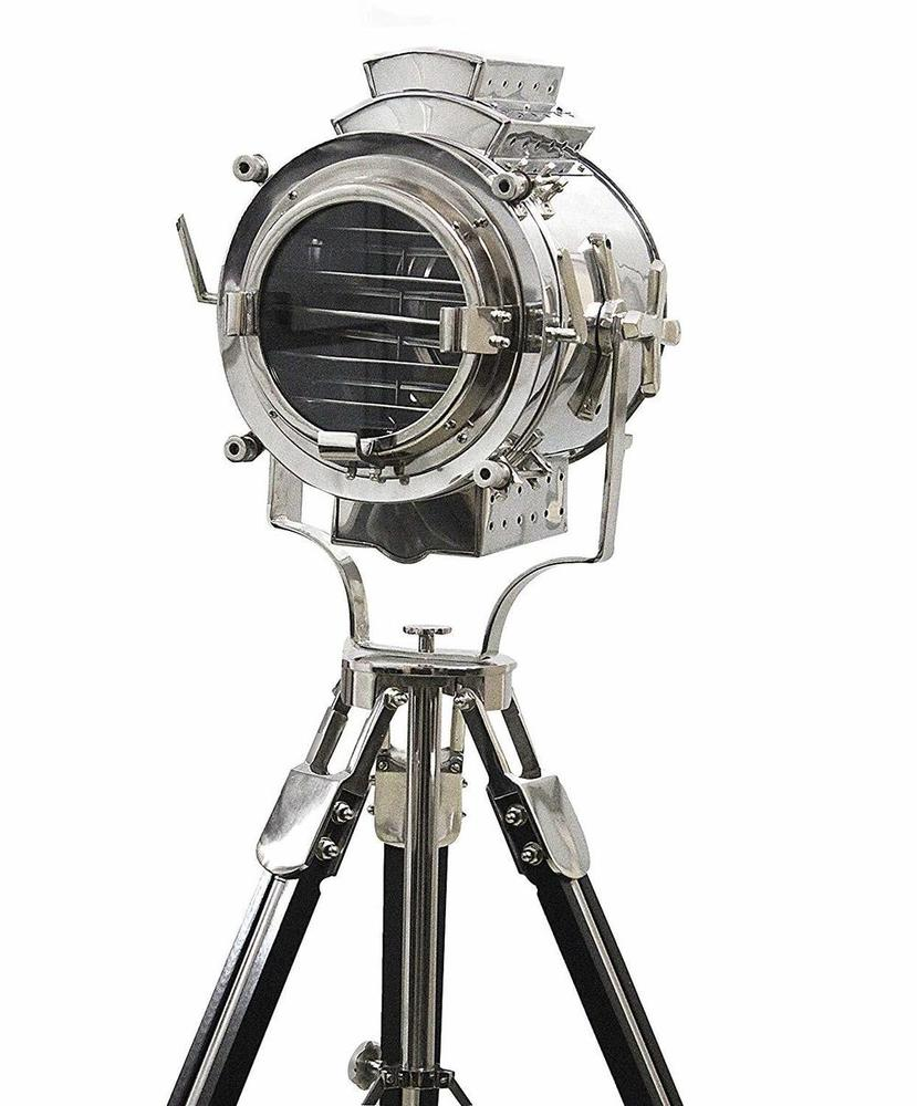 Vintage Modern Collectible Chrome Searchlight Home Black Tripod Nautical Spotlights Floor Lamp 72 Inches