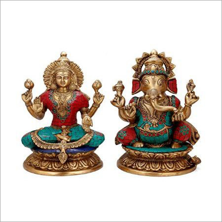 Brass Stone Work Laxmi And Ganesh Statue