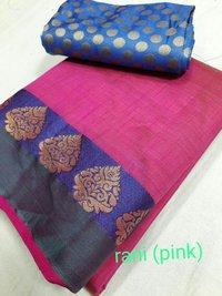 Tussar Silk Deepam Border Saree With Extra Blouse