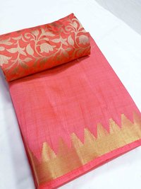 Tussar Silk Mini Temple Border Chitpallu Saree