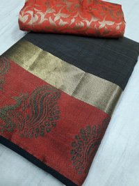 Tussar Silk Sartin Peacock Border Chitpallu Saree(With Extra Blouse)
